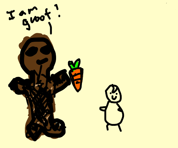 Groot gives carrot to baby