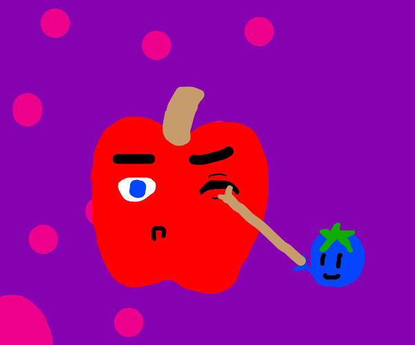 An apple got poked in the eye with a stick