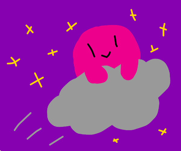 Cloud riding Kirby with stars