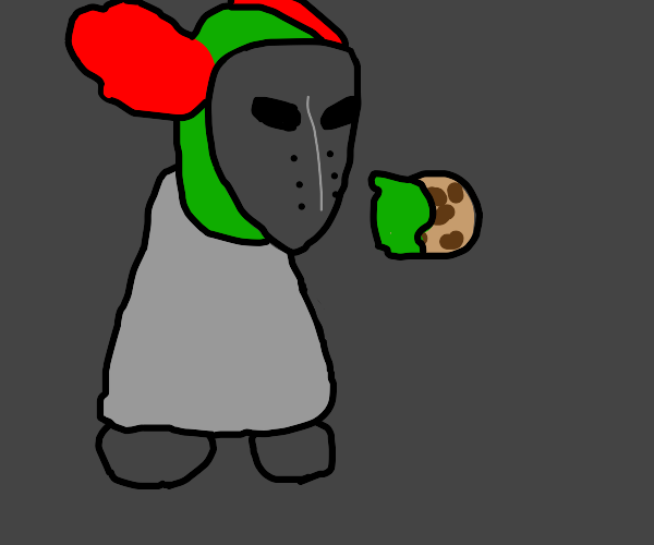 Tricky eats a cookie