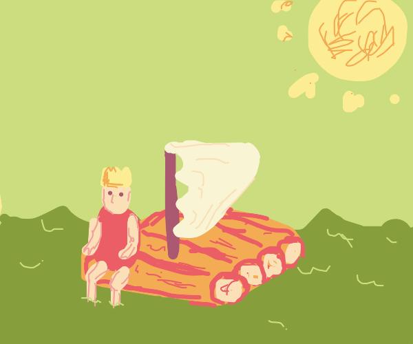 King sailing on a raft