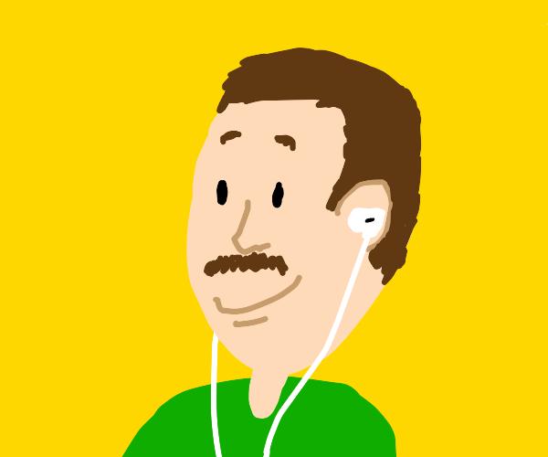 middle aged man wearing in-ear headphones