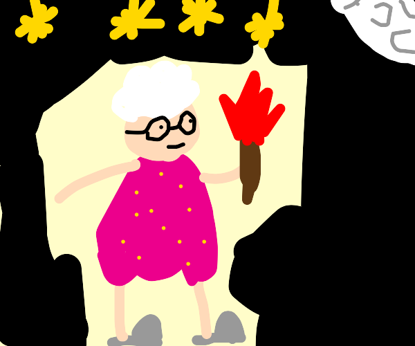 Old woman carries torch into the night