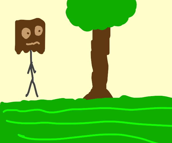 a man lost in a forest looking  at a tree
