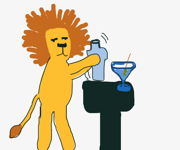 lion making a cocktail
