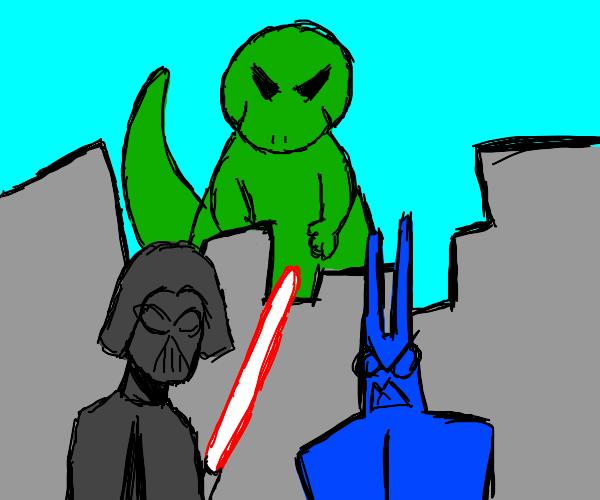 Darthvader and batman fight, godzilla is angy
