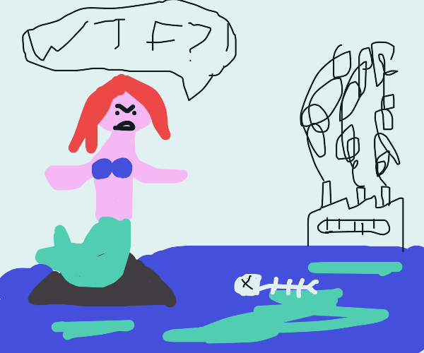 mermaid upset about pollution