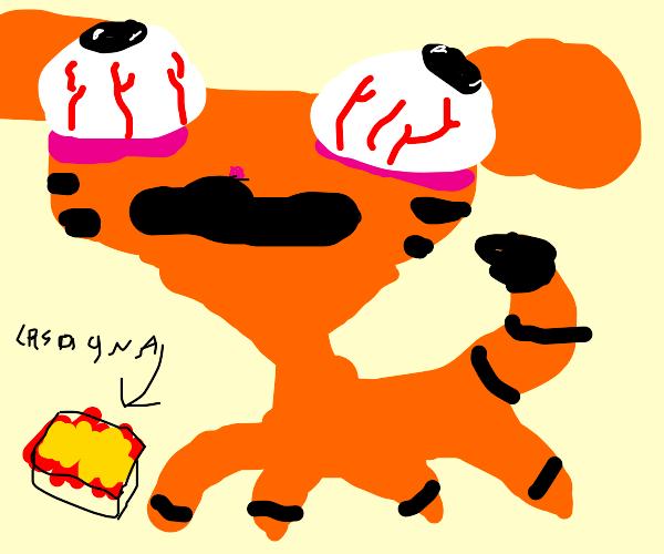 garfield eats lansage