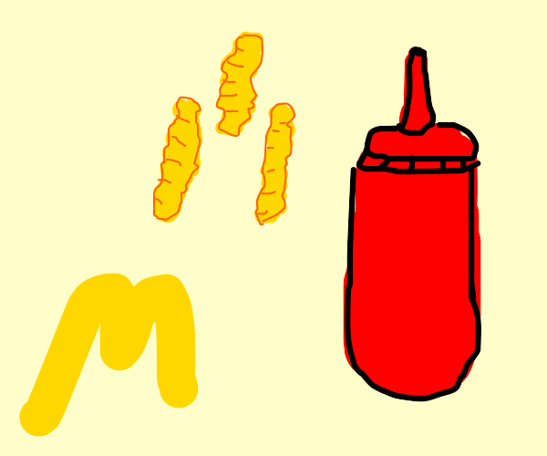 Crinkle cut McDonald's fries and ketchup