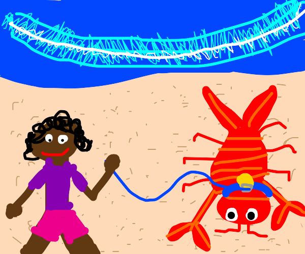 Girl and her pet lobster.