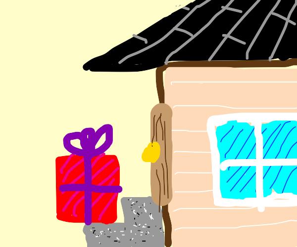 """""""present"""" (mimic) left at the front door"""