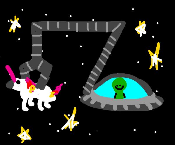 Alien holding Unicorn