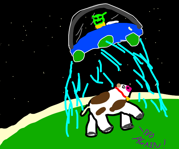 alien in a UFO abducts cow