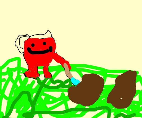 Kool-Aid Man digging into a Lawn