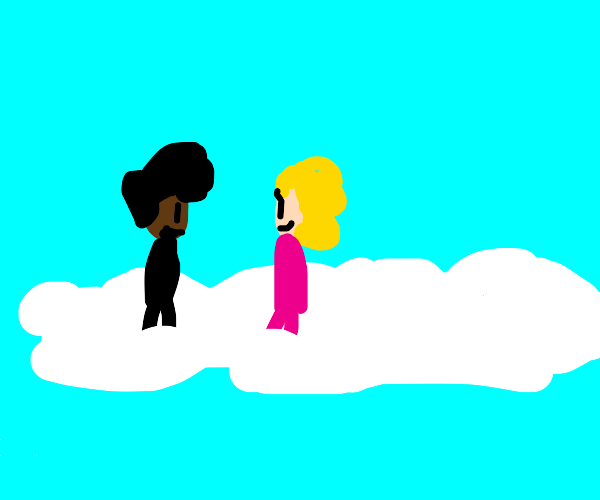 Boy and girl are happy in the clouds