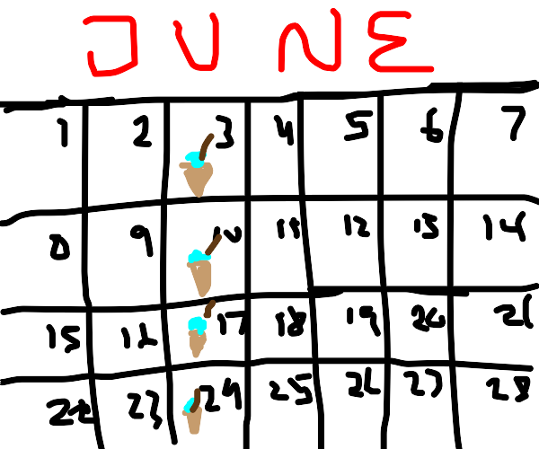 An ice-cream every week in June