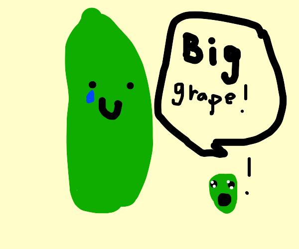 Big long grapes saying some stuff