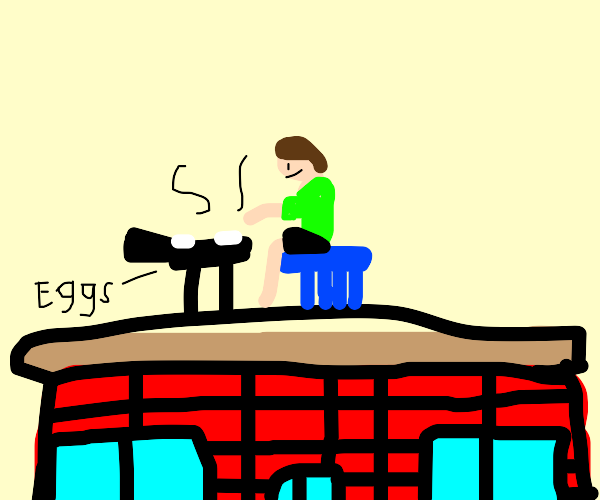 Cooking eggs on my Roof
