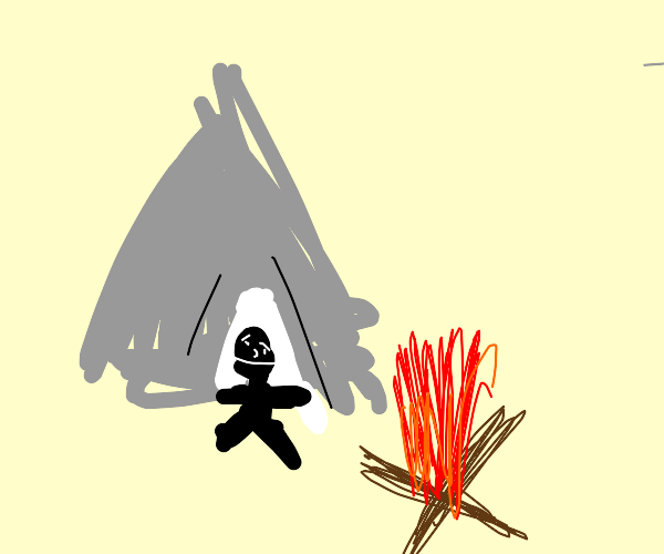Campfire by a tent