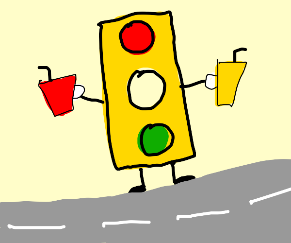 Traffic light serving red and yellow drinks