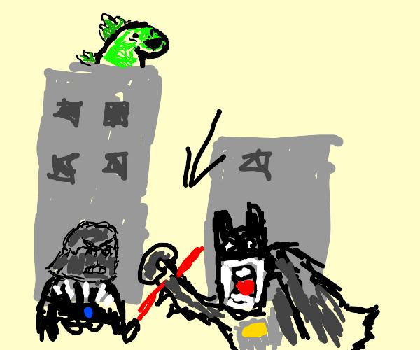 Batman fighting Darth Vader