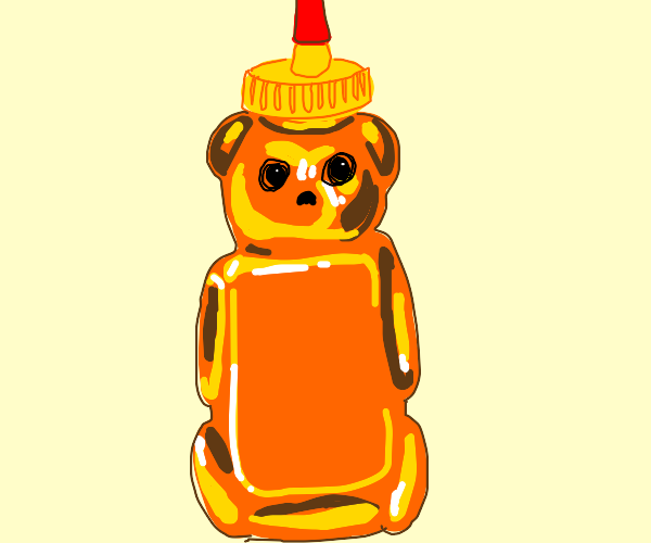 Red bear honey bottle stares at you.