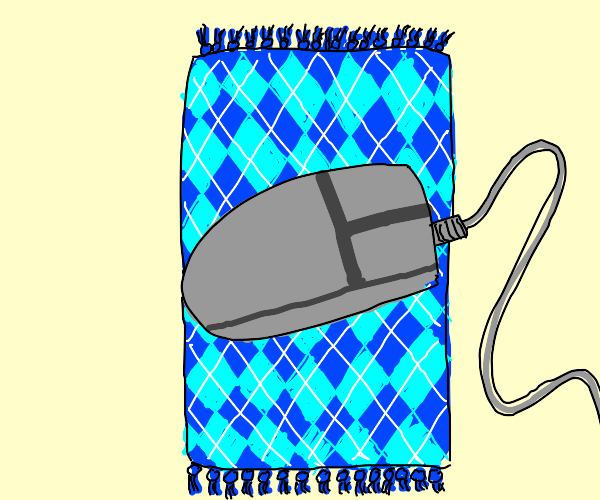 Corded computer mouse on a nice argyle carpet
