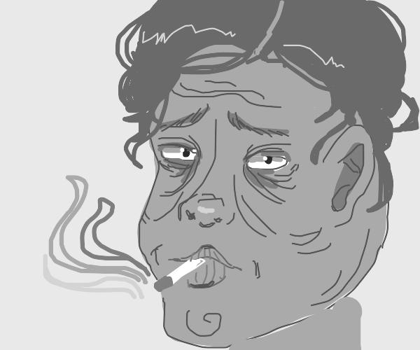mans face got wrinkly af bc of smoking