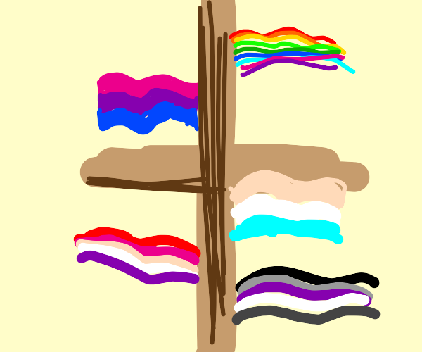 pride flags glittering blissfully on crucifix
