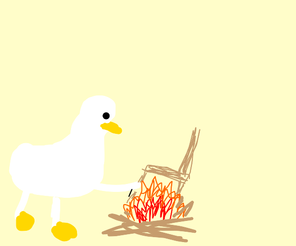 Goose frying a chair