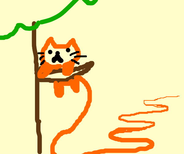 cat hangs on branch w extremely LOOOOONG tail