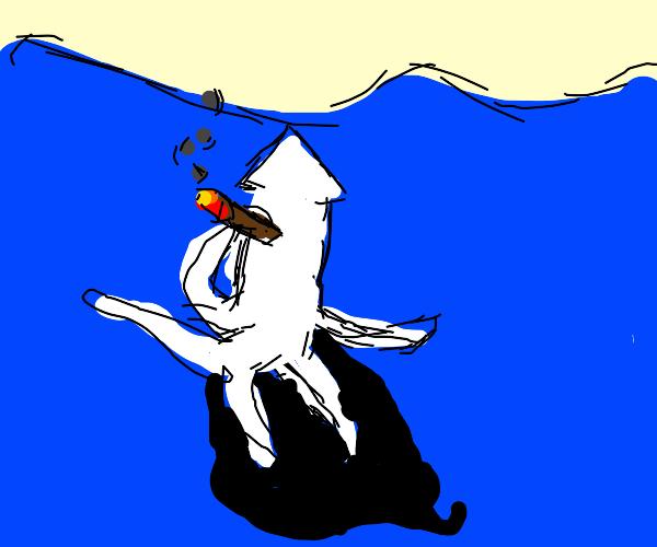 Squid smoking cigar