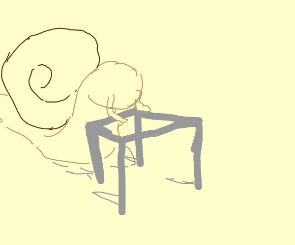 Slug with a mobility aid
