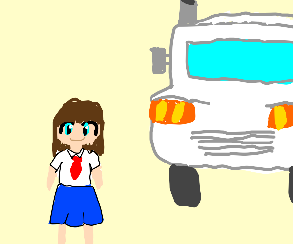Anime school girl about to be hit by a truck