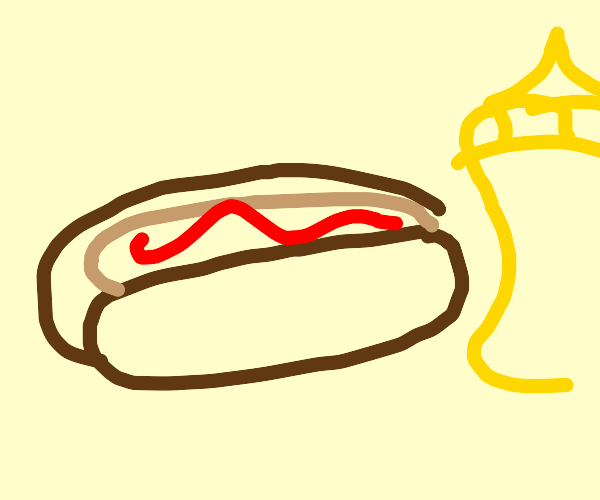 hotdog with ketchup near a mustard bottle