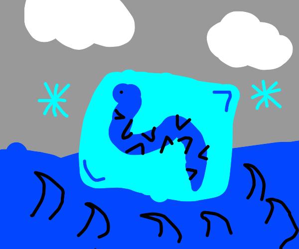 Snake frozen in ice