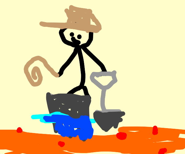 Indiana jones tries to dig in lava