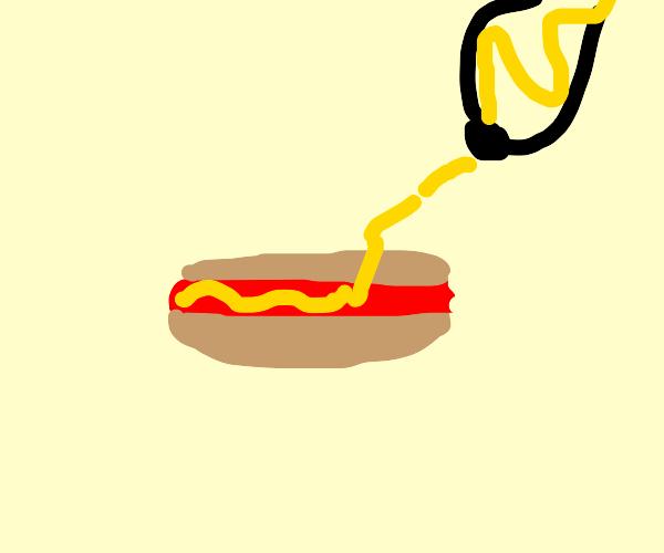 Squirting mustard on a hotdog