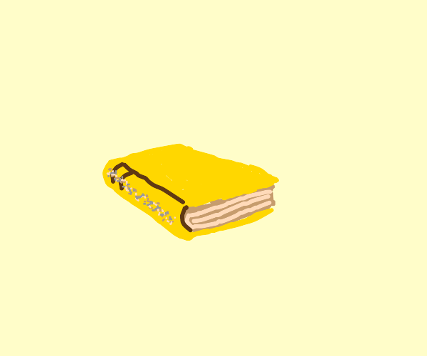 yellow book with a line of dust on the spine