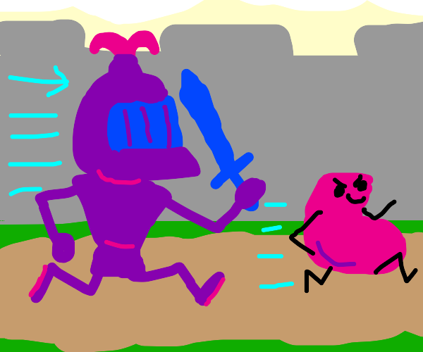 Vigilante knight chases after a bean
