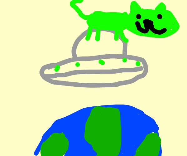 Cat alien on a UFO above earth