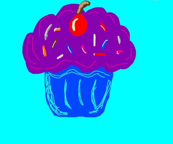 Purple cupcake with sprinkles and a cherry