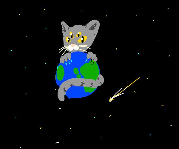 4 eyed cat holds the world