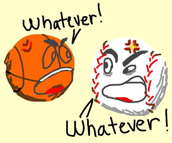 basketball and tennis ball argue