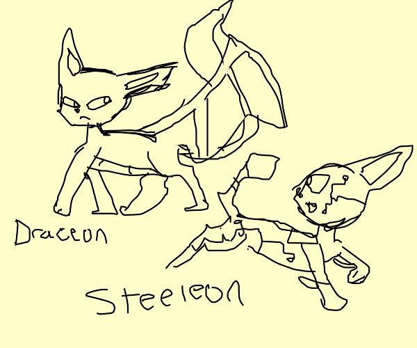 Dragon evee and robot evee (Pokemon)