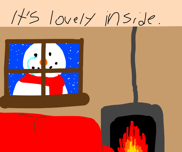 Lonely snowman peers into the window.