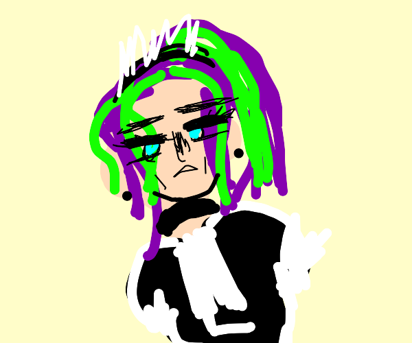 alt maid with green and purple hair