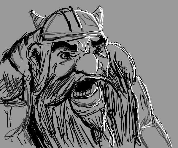 Dwarf in a gray background