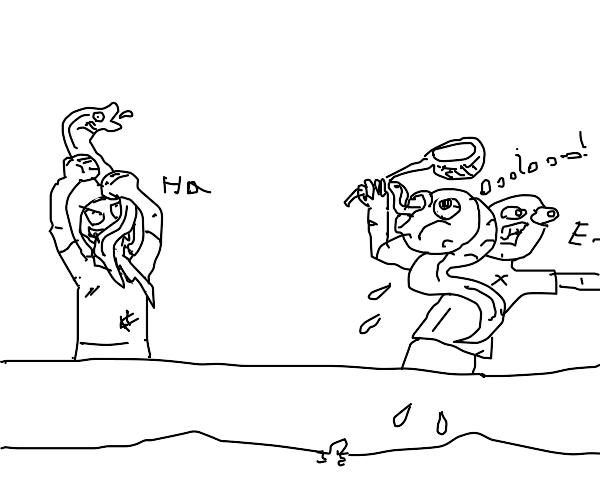 Catching an eel