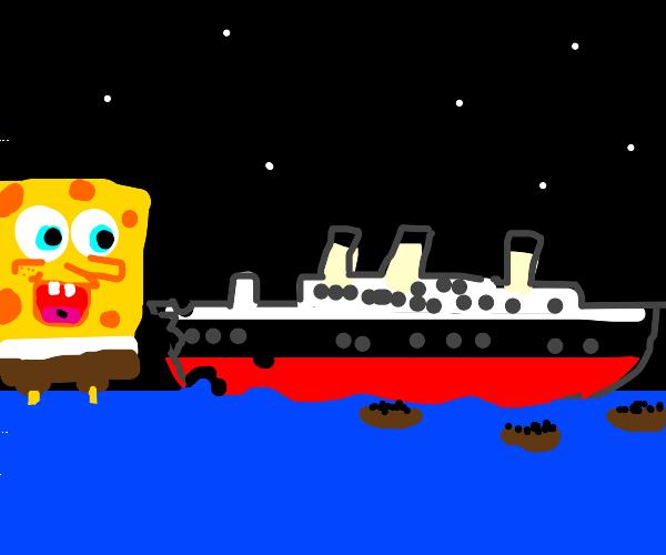 titanic except the iceberg is spongebob